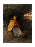 Knitter or The Seated Shepherdess Prints by Jean-François Millet