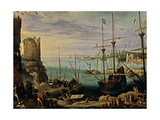 View of a Port, Paul Bril, 17th c. Palazzo Pitti, Florence, Italy Prints by Paul Bril