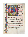 Choral response for religious services, illuminated manuscript, 14th c. Osservanza Basilica, Siena Poster