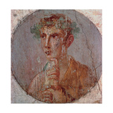 Young Man with Roll, c. 55 -79 A.D., painting on plaster, Archaeological Museum, Naples, Italy Giclee Print
