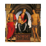 Madonna Enthroned with Child and Sts. John the Baptist and Sebastian Giclee Print by Perugino Vannucci