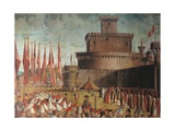 Legend of St. Ursula. Pilgrims Meet the Pope under the Walls of Rome by Vittore Carpaccio, c. 1491 Posters af Vittore Carpaccio