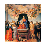 Enthroned Madonna with Saints and Hosts of Angels Prints by Lotto Lorenzo