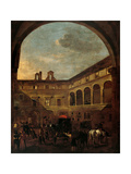Courtyard of Palazzo Nardini, Via del Governo Vecchio, Rome Prints by Jan Miel