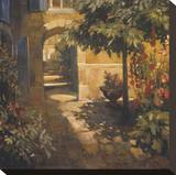 Courtyard in Provence Stretched Canvas Print by Philip Craig