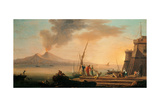 Neapolitan Seascape with Fortification and the Vesuvius Print by  Bremer