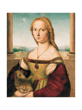 Portrait of a Young Woman (Lady with a Unicorn) Reproduction procédé giclée par  Raphael