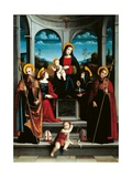 Madonna & Child, Sts. Scholastica, Justina, Benedict & Placid Posters by Francesco Raibolini