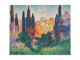 Cypress Trees at Cagnes Poster by Henri Edmond Cross