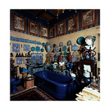 Blue Bathroom, 20th c, The Vittoriale, Brescia, Italy Prints