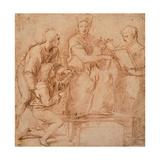 Drawing, Four Figures for a Holy Conversation Reproduction procédé giclée par  Raphael
