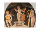 Three musician angels beneath a canopy Prints by Bernardino Lanino