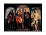 Triptych. Sts. Helen, Constantine, Roch, and Sebastian Prints by Palma the Elder Negretti
