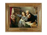 Old Man Showing His Little Niece the Herme of Maria Luigia Reproduction procédé giclée par Giuseppe Molteni