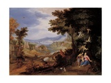 Landscape with the Rest on the Flight into Egypt, Carlo Antonio Procaccini, 1610-1615. Italy. Prints by Carlo Antonio, Procaccini