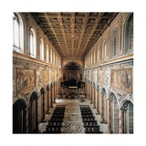 St. Mark's Basilica, 336, 4th c. Interior view of nave toward alter, Rome, Italy Print