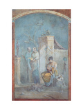 Child Dionysus, Leukothea and the Nymphs of Nysa, 1st c. A.D. Ancient Roman painting. Rome Prints