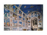 Interior of Scrovegni Chapel with Fresco cycle by Giotto, c. 1304-1306. Padua, Italy Prints by  Giotto di Bondone