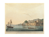 Ganges River at Ramnugur, near Benares, 19th c. aquatint etching. Braidense National Library, Milan Prints