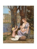 Young Mother or The Charity Reproduction procédé giclée par Pierre Puvis de Chavannes