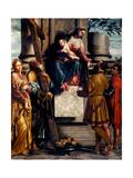Madonna with Child Enthroned & Sts Andrew, Eusebius, Dominic & Domnio Prints by  Moretto da Brescia