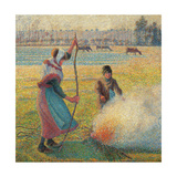 Young Peasants Feeding a Fire Posters af Camille Pissarro