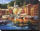 Portofino Colors Stretched Canvas Print by Michael O'Toole