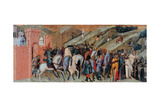 Carmine Altarpiece, Procession  from City Gate Plakater af Pietro Lorenzetti