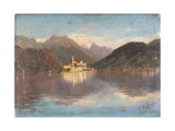 Isle of San Giulio in the Lake Orta Print by Cesare Tallone