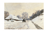 Cart. Route in the Snow, near Honfleur Prints by Claude Monet