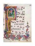 Choral response for religious services, illuminated manuscript, 14th c. Osservanza Basilica, Siena Giclee Print