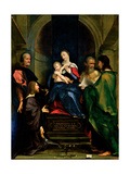 Madonna and Child with Sts. Cosmas, Damian, Jerome & Donor Art by Giovanni Francesco Bembo