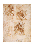 Drawing, St. Ambrose on Horseback Chasing the Arians Prints by Giovanni Ambrogio Figino