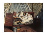 Painter Monet Wounded at Chailly en Bire by Jean-Frederic Bazille, 1865. Musee d'Orsay, Paris. Prints by Claude Monet