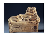 Couple Kissing on Sarcophagus Lid, Roman Terracotta Sculpture, c. 1st c. Naples, Italy Posters