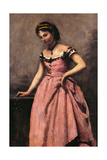 Young Woman in a Pink Dress Prints by Jean-Baptiste-Camille Corot