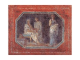 Small picture with theatrical scene, 25 A.D. Ancient Roman painting. Palazzo Massimo, Rome Poster