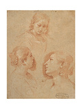 Three Studies of Female Heads Posters by Pesarese Cantarini