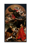 Madonna and Child with Sts Petronius and Eligius Posters af Giacomo Cavedoni