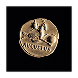 Gold Coin of Augustus Aureus, 18-16 A.D. Ancient Roman coin. Palazzo Massimo, Rome, Italy Posters