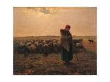 Shepherdess with Her Flock Poster af Jean-François Millet