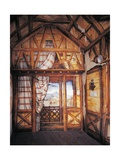 Wall fresco of Rustic Hut in the Garden Giclee Print by Romolo Liverani
