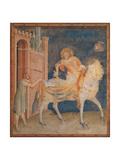 Life of St. Martin, Division of the Cloak Poster von Simone Martini