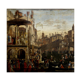 Miracle of the Relic of the True Cross at the Rialto Bridge Giclee Print by Vittore Carpaccio