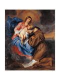 Madonna with Child & St. Anthony of Padua Giclée-Premiumdruck von Sir Anthony Van Dyck
