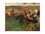 Racecourse, Amateur Jockeys Near a Carriage Giclee Print by Edgar Degas