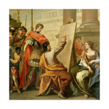 Apelles Making a Portrait of Pancaspe Plakater af Sebastiano Ricci