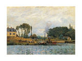 Boats at the Lock at Bougival Print by Alfred Sisley