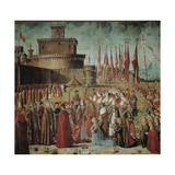Legend of St. Ursula. Pilgrims Meet the Pope under the Walls of Rome by Vittore Carpaccio, c. 1491 Print by Vittore Carpaccio