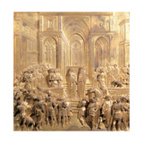 Meeting of King Solomon and the Queen of Sheba Plakater af Lorenzo Ghiberti